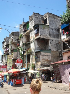 the white building, phnom penh.  a community for artists, prostitutes and other misfits. think 'cambodian chelsea hotel'.