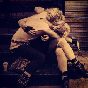 a young punk love embrace.  (credit: derek berg, east village nyc 1984)